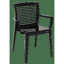 Cadeira Victória encosto vazado horizontal com braços preta Tramontina 92042009