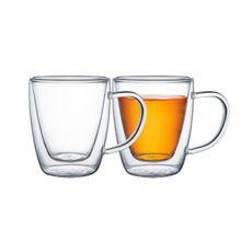 Conjunto de Xícaras Tramontina para Café e Chá Vidro Duplo com Alças 2 Peças